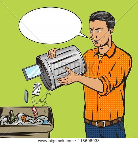 Man throws gadget device into trash pop art vector