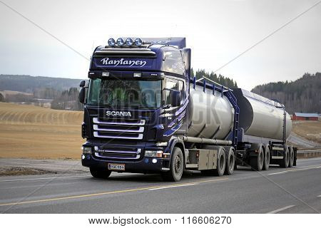Purple Scania R500 Tank Truck On Rural Road