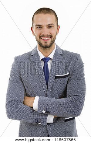 young happy businessman portrait isolated on white