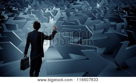Businessman choosing his business direction