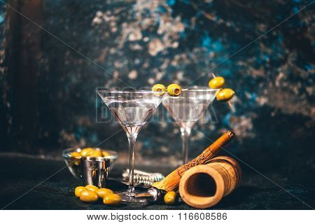 Vodka Martini, Dry Cocktail. Classic Martini With Olives Served Cold In Restaurant Or Club.