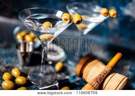 Martini, Classic Cocktail With Olives, Vodka And Gin Served Cold In A Restaurant