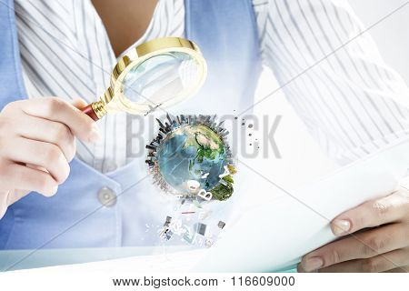 Person exploring Earth planet