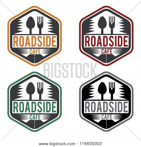 Abstract Vintage Label With Text Roadside Cafe
