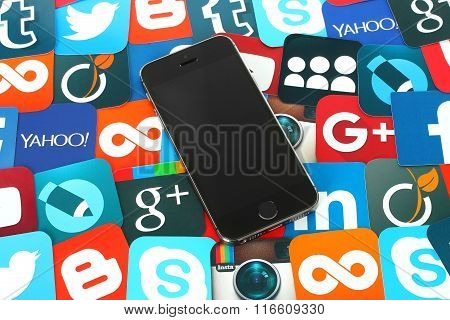 Background of famous social media icons with iPhone