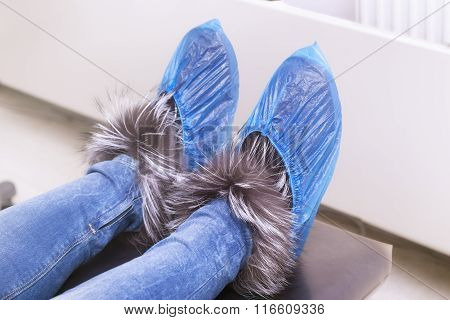 Overshoes On Woman's Shoes
