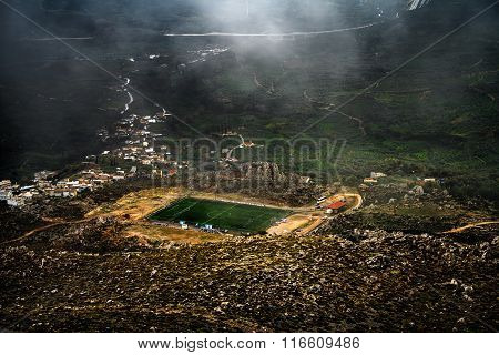 Football court on a mountain plateau
