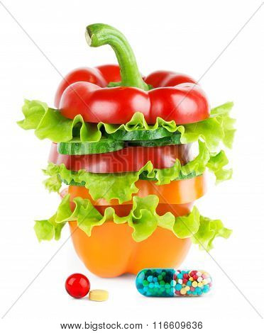 Fresh Vegetables Stack With Vitamins