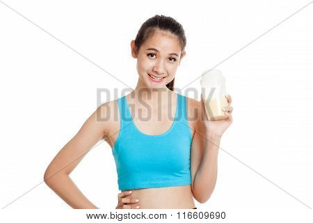 Beautiful Asian Healthy Girl With Whey Protein