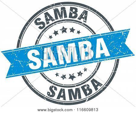 samba blue round grunge vintage ribbon stamp