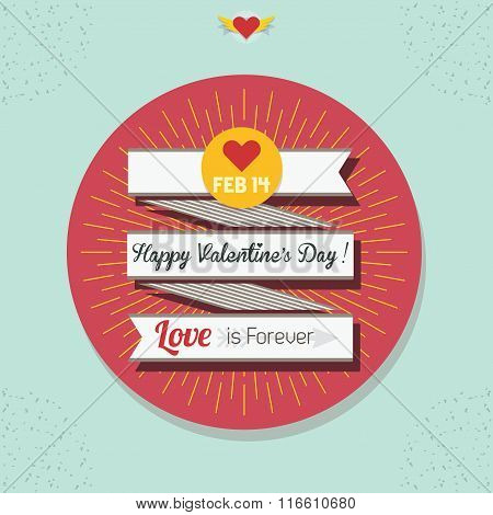 Cute Happy Valentine's Day flat ribbon banner with yellow sunburst and coral circle sticker