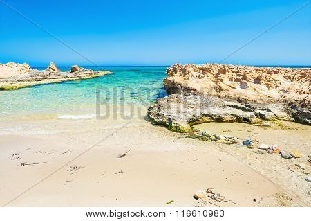 Beautiful Wild Beach With Clear Turquoise Water And White Sand.