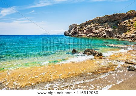 Beautiful Tropical Beach With Clear Turquoise Water And Rocks.