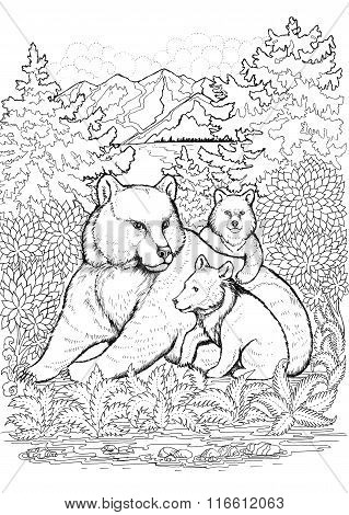 She-bear And Cubs On A Background Of Mountains