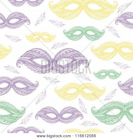 Seamless Colorful Pattern For Mardi Gras Celebration.