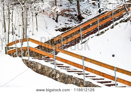 Stairs in the mountain snow