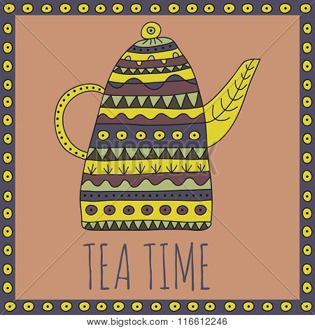 Teapot with ethnic ornaments in desaturated colors in a simple frame