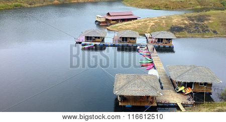 Floating Resort Or Raft Houses For Tourists In Chiangrai, Thailand