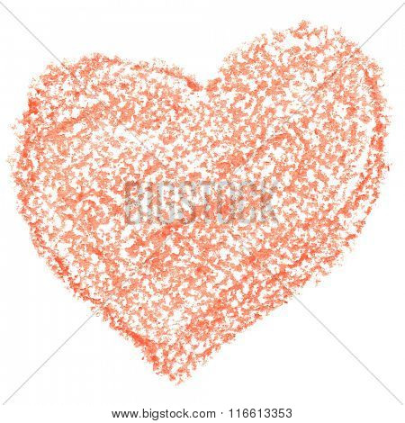 Crayon orange heart isolated on the white background. Valentine's day card