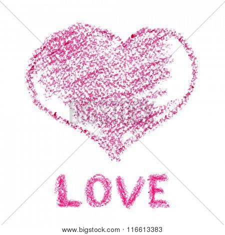 Pink crayon heart -- Holiday Valentine's day card