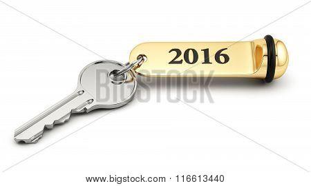 Key With Golden Keychain 2016