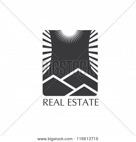 Real Estate Icon With Sun