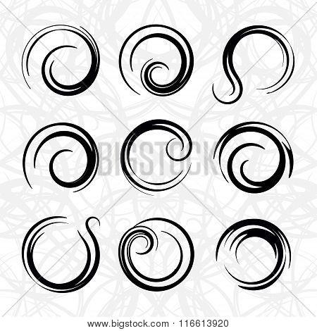 Vector Spirals Design Elements Set