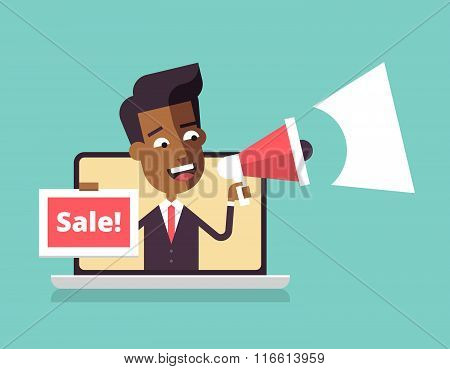 Black man leaning out of laptop screen. Sale
