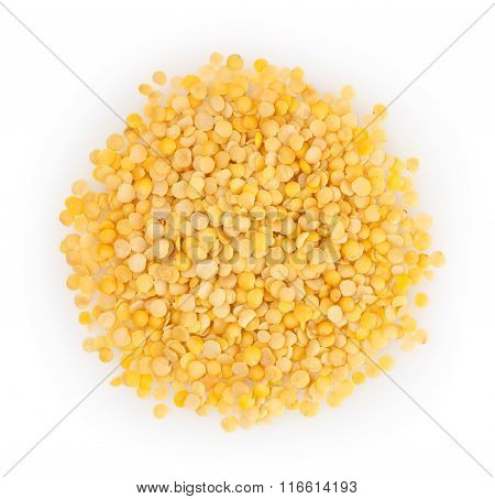 Yellow Lentil Isolated On White Background