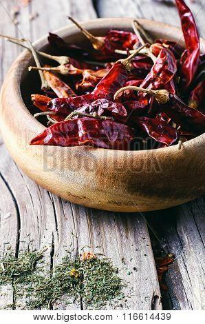 Spicy Peppers In The Bowl