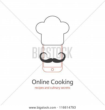 online cooking logotype with moustache of chef