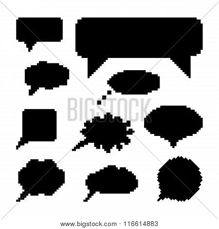 set of black speech bubbles in pixel art