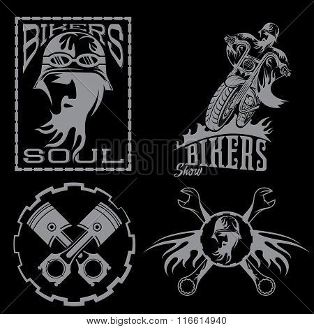 Bikers Theme Labels With Biker Man,motorbike And Repair Tools