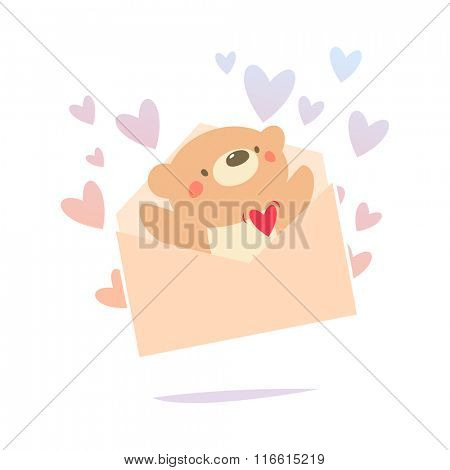 Valentine card Teddy bear inside the love letter