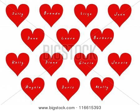 14 hearts with names of women on Valentine's Day.