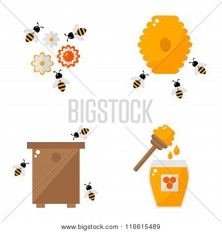 Apiculture isolated icons on white background.