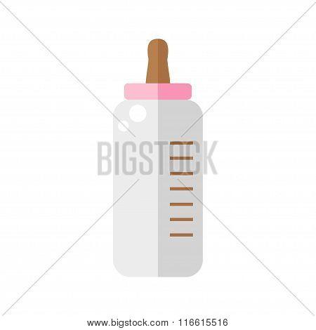 Baby bottle isolated icon on white background.
