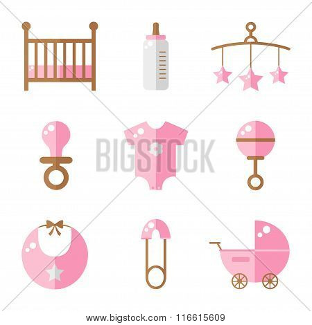 Baby icons isolated on white background. Cot, baby bottle, toys, clothes, rattle, baby pin, baby carriage, bib, soother. Baby girl icons set. Flat style vector illustration.