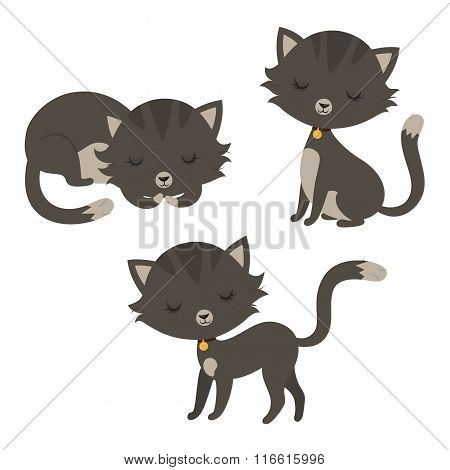 Set of funny cartoon cats.