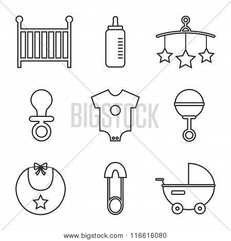 Baby icons isolated on white background.