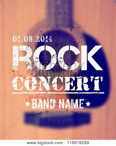 Vector Blurred Background With Acoustic Guitar. Rock Concert Design Template With place for text.