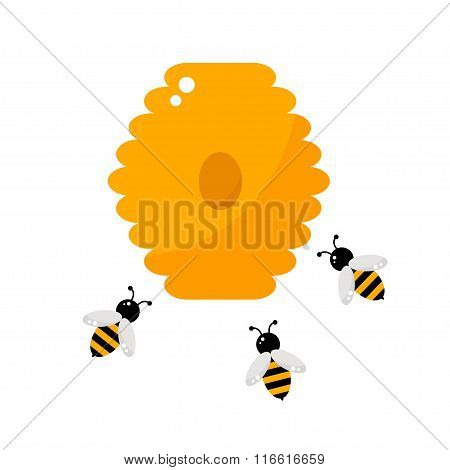 Beehive isolated icon on white background.