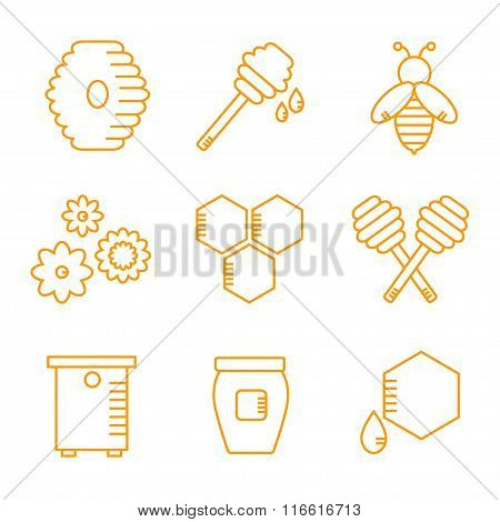 Beekeeping isolated icons on white background.