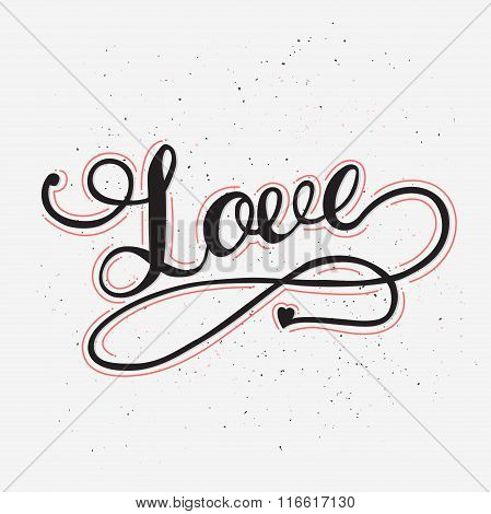 Love card with hand drawn lettering.