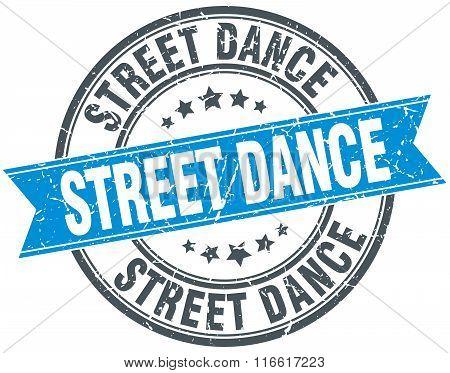 street dance blue round grunge vintage ribbon stamp