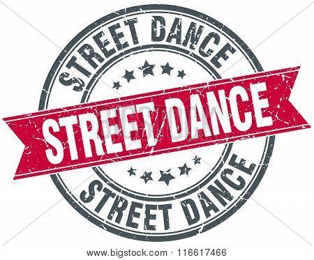 street dance red round grunge vintage ribbon stamp