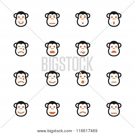 Monkey emotions simply icons