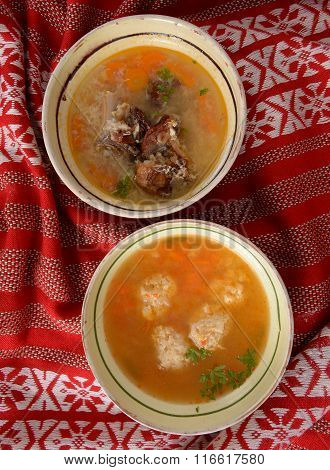 meatball soup and sour soup with smoked meat traditional cuisine