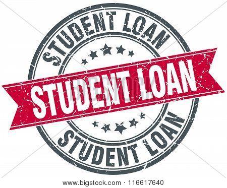 student loan red round grunge vintage ribbon stamp