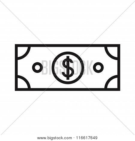 Dollar isolated icon on white background.